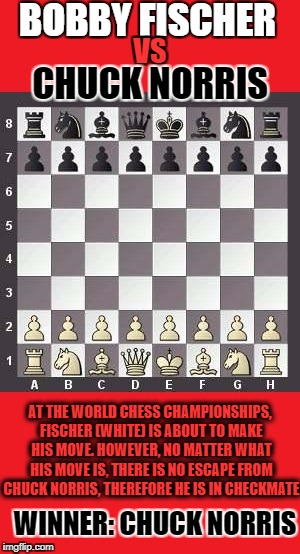 Sorry Bobby, but you never stood a chance. | BOBBY FISCHER VS CHUCK NORRIS AT THE WORLD CHESS CHAMPIONSHIPS, FISCHER (WHITE) IS ABOUT TO MAKE HIS MOVE. HOWEVER, NO MATTER WHAT HIS MOVE  | image tagged in memes,chuck norris,chess,dank memes,funny,bad puns | made w/ Imgflip meme maker