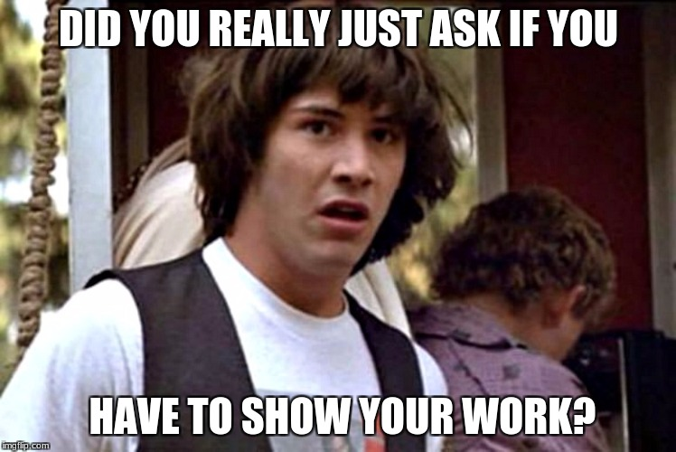 What If Guy | DID YOU REALLY JUST ASK IF YOU HAVE TO SHOW YOUR WORK? | image tagged in what if guy | made w/ Imgflip meme maker