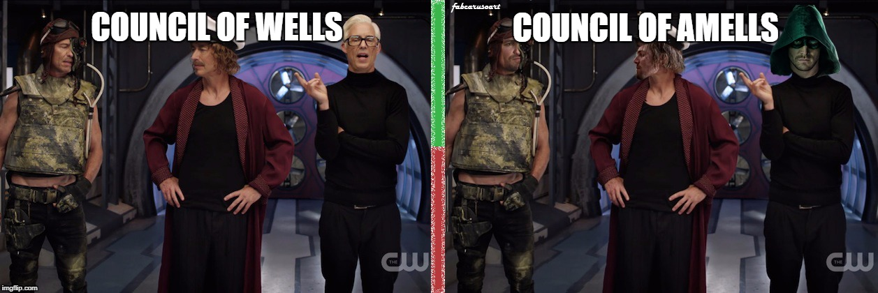 The Flash: Council of Amells | COUNCIL OF WELLS COUNCIL OF AMELLS | image tagged in the flash,cw,harrison wells,arrow,stephen amell,amell | made w/ Imgflip meme maker