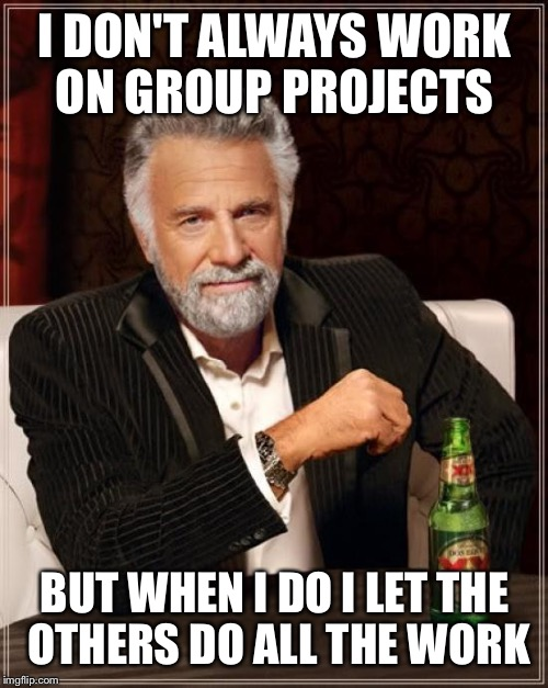 The Most Interesting Man In The World Meme | I DON'T ALWAYS WORK ON GROUP PROJECTS BUT WHEN I DO I LET THE OTHERS DO ALL THE WORK | image tagged in memes,the most interesting man in the world | made w/ Imgflip meme maker