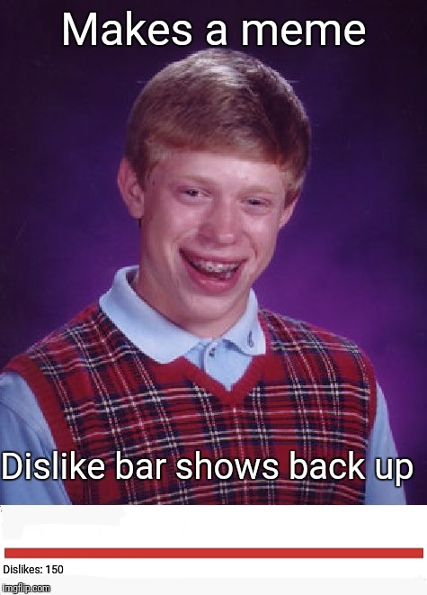 Bad Luck Dislike Bar-ian | Makes a meme Dislike bar shows back up Dislikes: 150 | image tagged in memes,bad luck brian,dislike | made w/ Imgflip meme maker