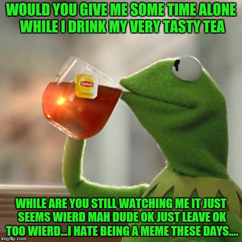 But Thats None Of My Business Meme | WOULD YOU GIVE ME SOME TIME ALONE WHILE I DRINK MY VERY TASTY TEA WHILE ARE YOU STILL WATCHING ME IT JUST SEEMS WIERD MAH DUDE OK JUST LEAVE | image tagged in memes,but thats none of my business,kermit the frog | made w/ Imgflip meme maker