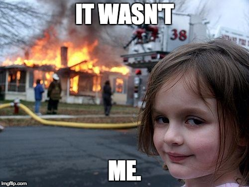 Disaster Girl Meme | IT WASN'T ME. | image tagged in memes,disaster girl | made w/ Imgflip meme maker