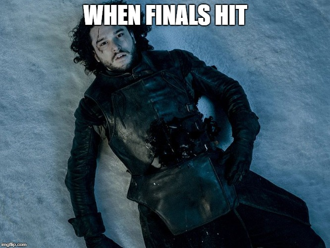 The Gradening | WHEN FINALS HIT | image tagged in jon snow stab | made w/ Imgflip meme maker