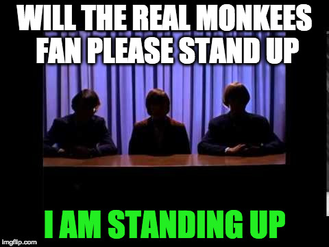 I am standing up!  | WILL THE REAL MONKEES FAN PLEASE STAND UP I AM STANDING UP | image tagged in the monkees,funny memes | made w/ Imgflip meme maker