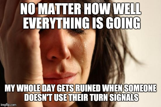 First World Problems Meme | NO MATTER HOW WELL EVERYTHING IS GOING MY WHOLE DAY GETS RUINED WHEN SOMEONE DOESN'T USE THEIR TURN SIGNALS | image tagged in memes,first world problems | made w/ Imgflip meme maker
