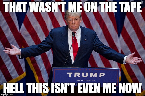 Donald Trump | THAT WASN'T ME ON THE TAPE HELL THIS ISN'T EVEN ME NOW | image tagged in donald trump | made w/ Imgflip meme maker