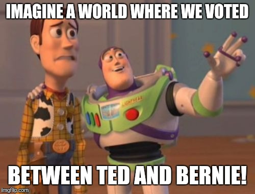 X, X Everywhere Meme | IMAGINE A WORLD WHERE WE VOTED BETWEEN TED AND BERNIE! | image tagged in memes,x,x everywhere,x x everywhere | made w/ Imgflip meme maker