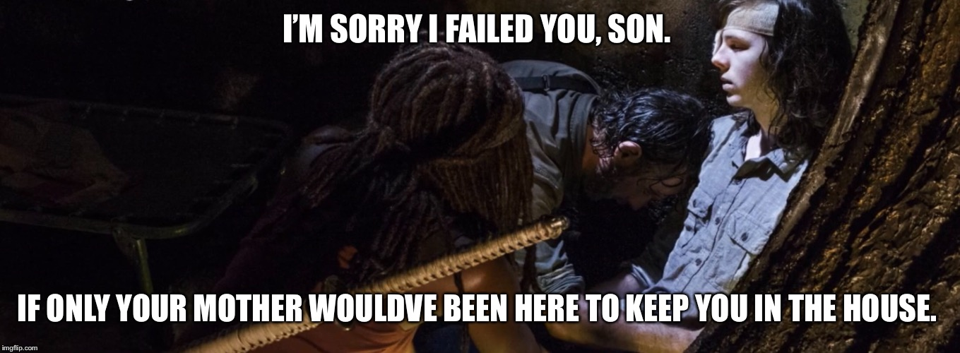If only..... | I'M SORRY I FAILED YOU, SON. IF ONLY YOUR MOTHER WOULDVE BEEN HERE TO KEEP YOU IN THE HOUSE. | image tagged in twd | made w/ Imgflip meme maker