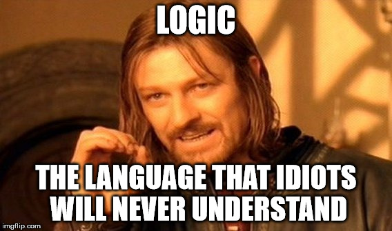 One Does Not Simply Meme | LOGIC THE LANGUAGE THAT IDIOTS WILL NEVER UNDERSTAND | image tagged in memes,one does not simply | made w/ Imgflip meme maker