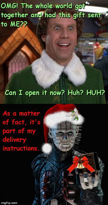 image tagged in elf gets xmas gift,will ferrell,pinhead,hellraiser,elf,christmas | made w/ Imgflip meme maker