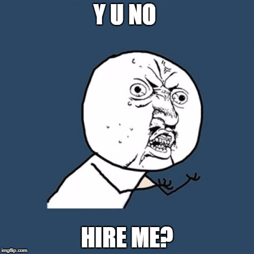 Y U No Meme | Y U NO HIRE ME? | image tagged in memes,y u no | made w/ Imgflip meme maker