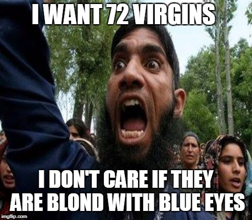 I WANT 72 VIRGINS I DON'T CARE IF THEY ARE BLOND WITH BLUE EYES | made w/ Imgflip meme maker