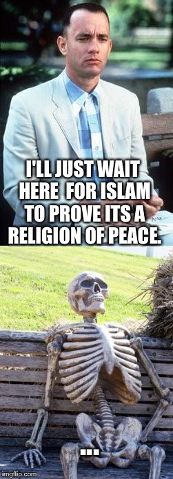 Gump waiting for peace. | I'LL JUST WAIT HERE  FOR ISLAM TO PROVE ITS A RELIGION OF PEACE. ... | image tagged in funny,religion | made w/ Imgflip meme maker