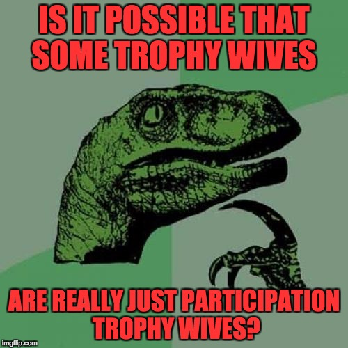 Philosoraptor Meme | IS IT POSSIBLE THAT SOME TROPHY WIVES ARE REALLY JUST PARTICIPATION TROPHY WIVES? | image tagged in memes,philosoraptor | made w/ Imgflip meme maker