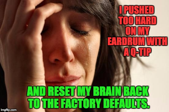 First World Problems Meme | I PUSHED TOO HARD ON MY EARDRUM WITH A Q-TIP AND RESET MY BRAIN BACK TO THE FACTORY DEFAULTS. | image tagged in memes,first world problems | made w/ Imgflip meme maker