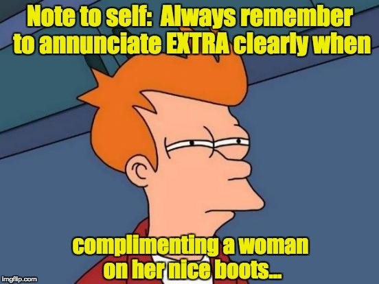 Futurama Fry Meme | Note to self:  Always remember to annunciate EXTRA clearly when complimenting a woman on her nice boots... | image tagged in memes,futurama fry | made w/ Imgflip meme maker