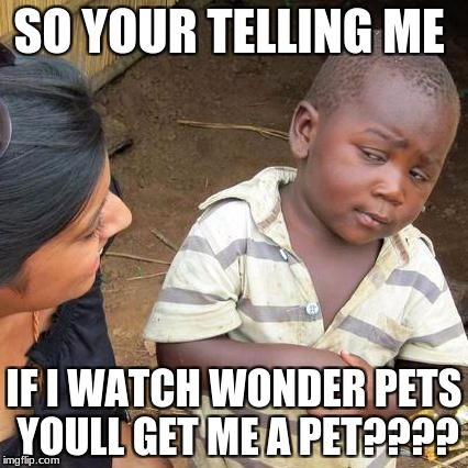 Third World Skeptical Kid Meme | SO YOUR TELLING ME IF I WATCH WONDER PETS YOULL GET ME A PET???? | image tagged in memes,third world skeptical kid | made w/ Imgflip meme maker