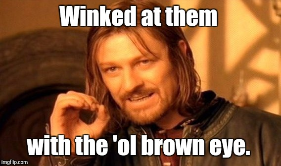 One Does Not Simply Meme | Winked at them with the 'ol brown eye. | image tagged in memes,one does not simply | made w/ Imgflip meme maker