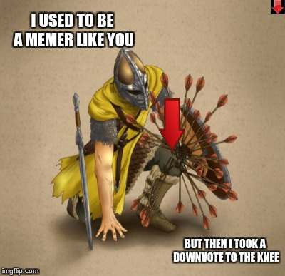 it hurt too | I USED TO BE A MEMER LIKE YOU BUT THEN I TOOK A DOWNVOTE TO THE KNEE | image tagged in downvote to the knee,downvote,funny,memes,skyrim,arrow to the knee | made w/ Imgflip meme maker