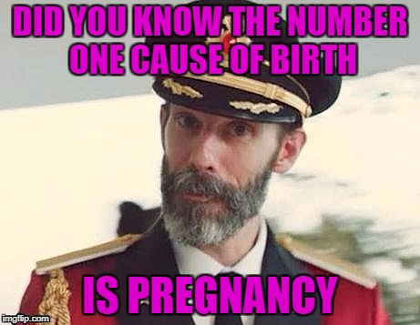 Who Knew? | DID YOU KNOW THE NUMBER ONE CAUSE OF BIRTH IS PREGNANCY | image tagged in captain obvious | made w/ Imgflip meme maker