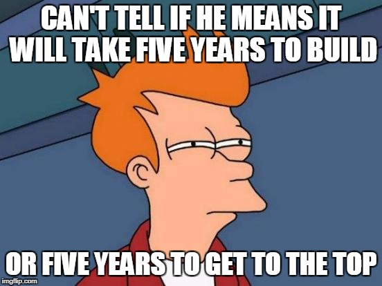 Futurama Fry Meme | CAN'T TELL IF HE MEANS IT WILL TAKE FIVE YEARS TO BUILD OR FIVE YEARS TO GET TO THE TOP | image tagged in memes,futurama fry | made w/ Imgflip meme maker