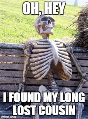 Waiting Skeleton Meme | OH, HEY I FOUND MY LONG LOST COUSIN | image tagged in memes,waiting skeleton | made w/ Imgflip meme maker