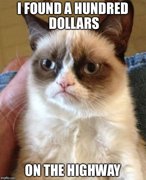 Grumpy Cat Meme | I FOUND A HUNDRED DOLLARS ON THE HIGHWAY | image tagged in memes,grumpy cat | made w/ Imgflip meme maker