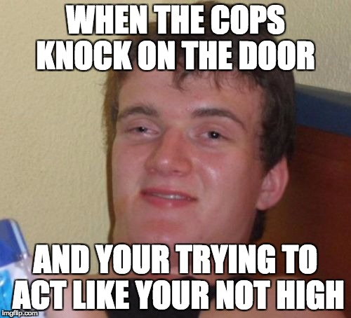 10 Guy Meme | WHEN THE COPS KNOCK ON THE DOOR AND YOUR TRYING TO ACT LIKE YOUR NOT HIGH | image tagged in memes,10 guy | made w/ Imgflip meme maker