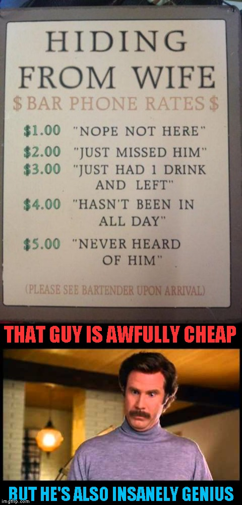 Bet this guy makes extra 10 dollars every day! | THAT GUY IS AWFULLY CHEAP BUT HE'S ALSO INSANELY GENIUS | image tagged in memes,bartender,wife,cheap,powermetalhead,genius | made w/ Imgflip meme maker