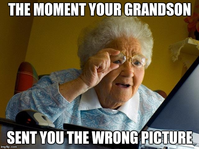Grandma Finds The Internet Meme | THE MOMENT YOUR GRANDSON SENT YOU THE WRONG PICTURE | image tagged in memes,grandma finds the internet | made w/ Imgflip meme maker