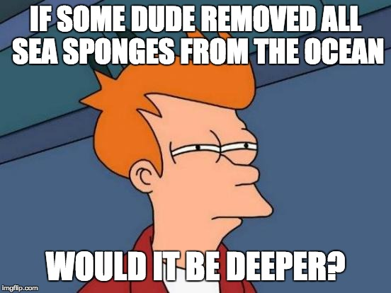 think about it | IF SOME DUDE REMOVED ALL SEA SPONGES FROM THE OCEAN WOULD IT BE DEEPER? | image tagged in memes,futurama fry,deep thoughts,interesting | made w/ Imgflip meme maker