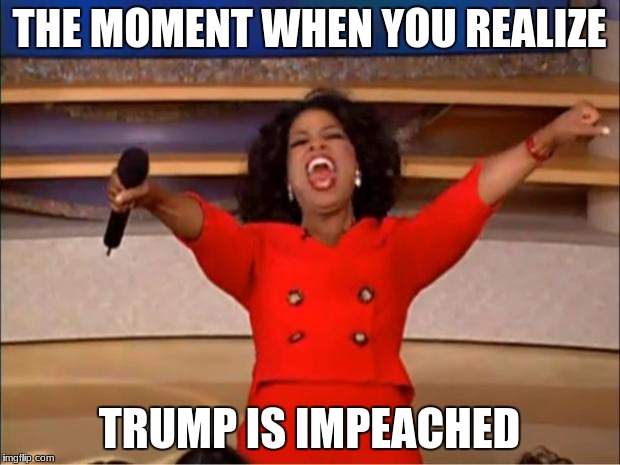 Oprah You Get A Meme | THE MOMENT WHEN YOU REALIZE TRUMP IS IMPEACHED | image tagged in memes,oprah you get a | made w/ Imgflip meme maker