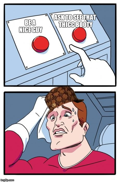 Two Buttons Meme | BE A NICE GUY ASK TO SEE THAT THICC BOOTY | image tagged in the daily struggle,scumbag | made w/ Imgflip meme maker