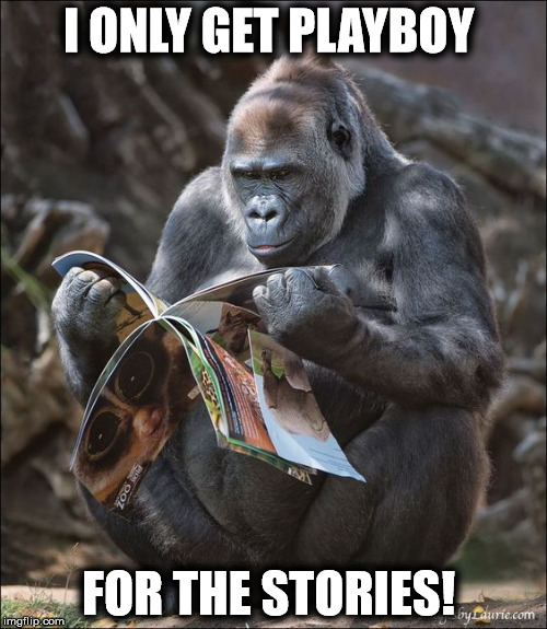 I ONLY GET PLAYBOY FOR THE STORIES! | image tagged in ape | made w/ Imgflip meme maker