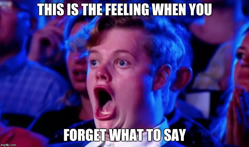 jaw dropper | THIS IS THE FEELING WHEN YOU FORGET WHAT TO SAY | image tagged in surprised open mouth | made w/ Imgflip meme maker