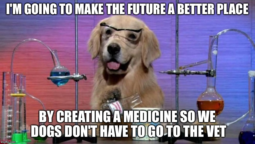 Vets, get ready to lose your job | I'M GOING TO MAKE THE FUTURE A BETTER PLACE BY CREATING A MEDICINE SO WE DOGS DON'T HAVE TO GO TO THE VET | image tagged in i don't know what i'm doing,memes,dogs,science | made w/ Imgflip meme maker