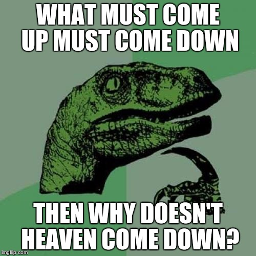 Philosoraptor Meme | WHAT MUST COME UP MUST COME DOWN THEN WHY DOESN'T HEAVEN COME DOWN? | image tagged in memes,philosoraptor | made w/ Imgflip meme maker