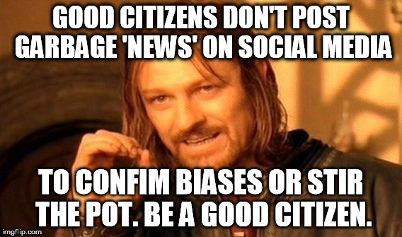 One Does Not Simply Meme | GOOD CITIZENS DON'T POST GARBAGE 'NEWS' ON SOCIAL MEDIA TO CONFIM BIASES OR STIR THE POT. BE A GOOD CITIZEN. | image tagged in memes,one does not simply | made w/ Imgflip meme maker