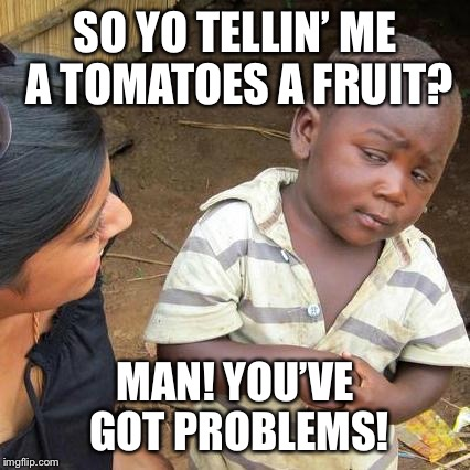 Third World Skeptical Kid Meme | SO YO TELLIN' ME A TOMATOES A FRUIT? MAN! YOU'VE GOT PROBLEMS! | image tagged in memes,third world skeptical kid | made w/ Imgflip meme maker
