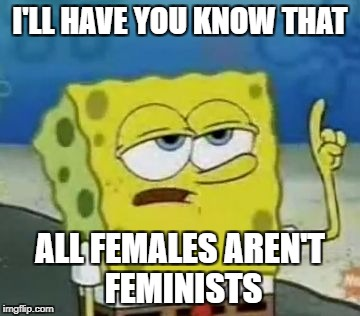 Ill Have You Know Spongebob Meme | I'LL HAVE YOU KNOW THAT ALL FEMALES AREN'T FEMINISTS | image tagged in memes,ill have you know spongebob | made w/ Imgflip meme maker