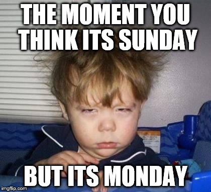 Bed Head Fred | THE MOMENT YOU THINK ITS SUNDAY BUT ITS MONDAY | image tagged in bed head fred | made w/ Imgflip meme maker