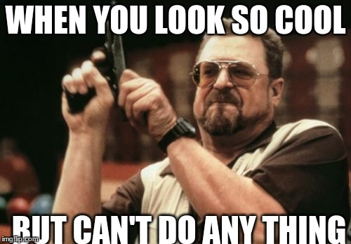 Am I The Only One Around Here Meme | WHEN YOU LOOK SO COOL BUT CAN'T DO ANY THING | image tagged in memes,am i the only one around here | made w/ Imgflip meme maker