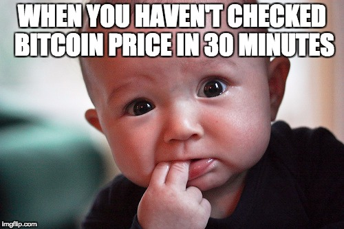 WHEN YOU HAVEN'T CHECKED BITCOIN PRICE IN 30 MINUTES | image tagged in bitcoin,cryptocurrency | made w/ Imgflip meme maker
