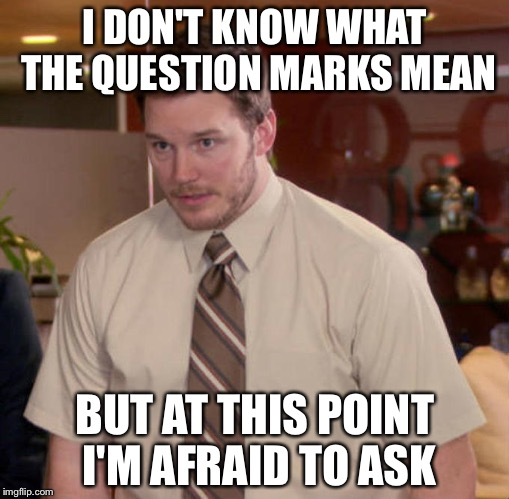 I DON'T KNOW WHAT THE QUESTION MARKS MEAN BUT AT THIS POINT I'M AFRAID TO ASK | made w/ Imgflip meme maker