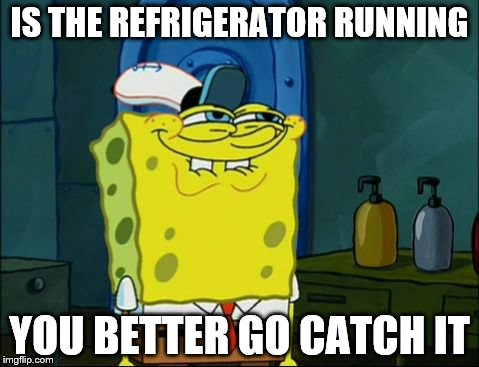 Sponge Bob | IS THE REFRIGERATOR RUNNING YOU BETTER GO CATCH IT | image tagged in sponge bob | made w/ Imgflip meme maker