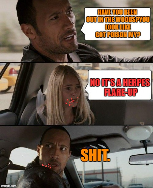 Shouldn't have kissed her | HAVE YOU BEEN OUT IN THE WOODS?YOU LOOK LIKE GOT POISON IVY? NO IT'S A HERPES FLARE-UP SHIT. | image tagged in memes,the rock driving,nsfw | made w/ Imgflip meme maker