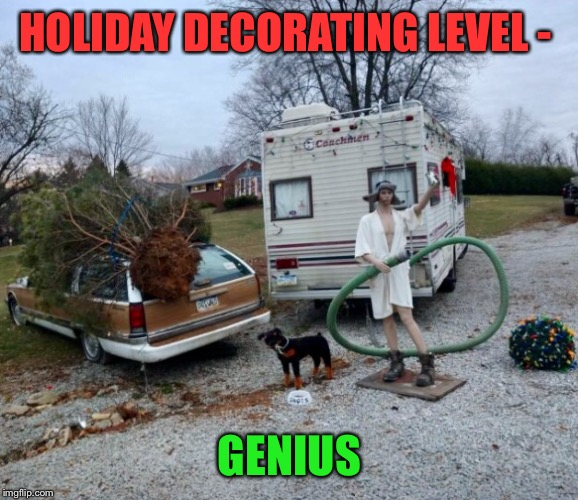 haven't seen this movie yet this season | HOLIDAY DECORATING LEVEL - GENIUS | image tagged in christmas decorations,christmas,christmas vacation,xmas,vacation | made w/ Imgflip meme maker