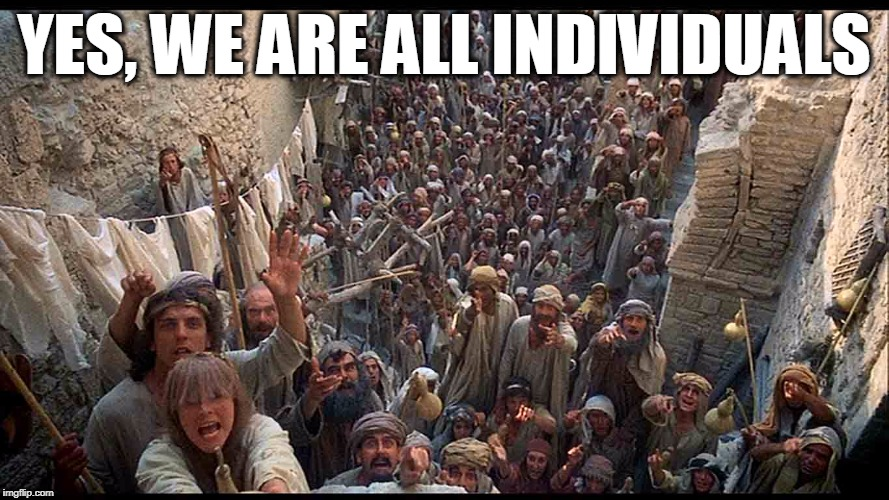 YES, WE ARE ALL INDIVIDUALS | image tagged in we are all individuals | made w/ Imgflip meme maker