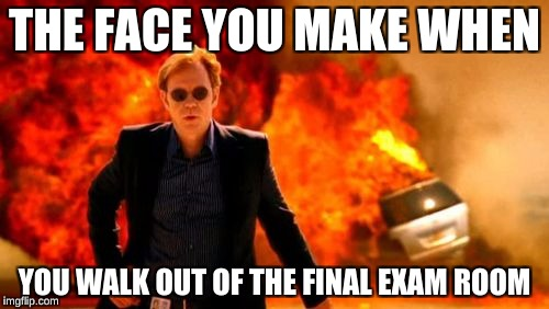 THE FACE YOU MAKE WHEN YOU WALK OUT OF THE FINAL EXAM ROOM | image tagged in walk explosion,memes | made w/ Imgflip meme maker